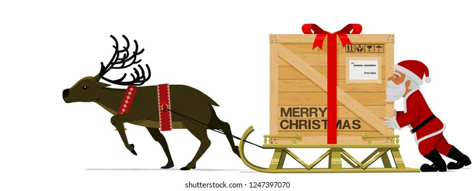 Santa Claus and his reindeer are moving his heavy sleigh