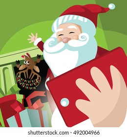 Santa Claus and his reindeer taking a selfie in a home where they've delivered gifts. EPS 10 vector.