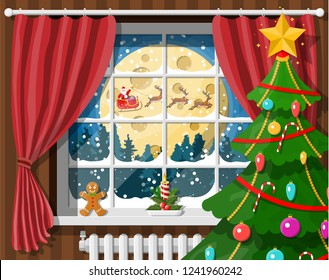 Santa claus and his reindeer in window. Interior of room with christmas tree. Happy new year decoration. Merry christmas holiday. New year and xmas celebration. Vector illustration flat style