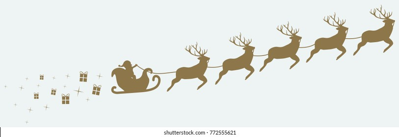 Santa Claus with his reindeers