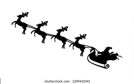 Santa Claus with his sled and reindeers, isolated
