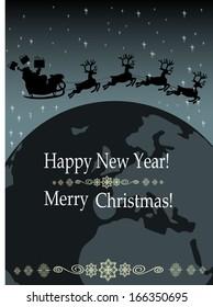 santa claus in his sleigh around the world