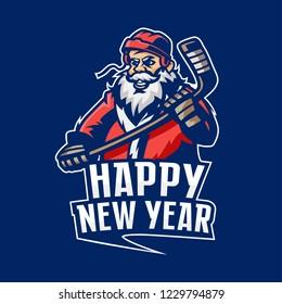 Santa Claus hockey logo. Happy New Year.