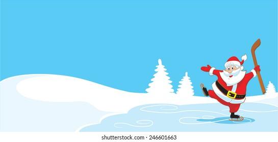 Santa Claus with a hockey stick