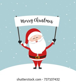 santa claus hold banner sign showing christmas text greeting winter snow background