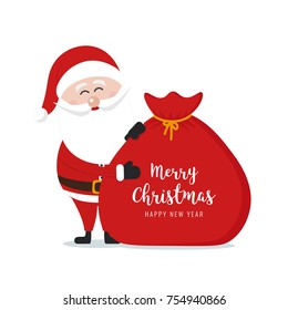 Santa claus hold sack merry christmas gretting text isolated white background