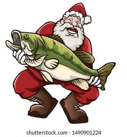 Santa Claus holding a big fish