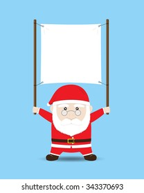 Santa Claus holding Blank Banner or Sign. Vector Cartoon for Christmas and New Year Advertising
