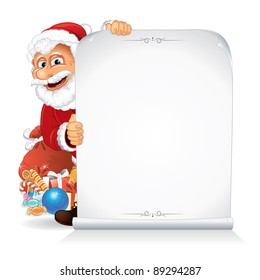 Santa Claus holding a Blank paper Scroll, vector illustration ready for your greeting message or advertising text