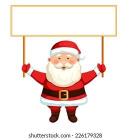 Santa Claus holding a blank sign. Vector Christmas illustration.