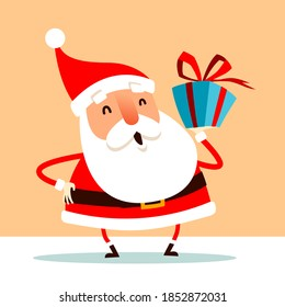 Santa Claus holding Christmas gift box present in hand. Flat vector concept illustration.
