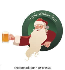 "Santa Claus holding a glass of beer. ""Frohe Weihnachten!"" Merry Christmas in German language."