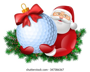 Santa Claus holding golf ball gift with red bow. Evergreen around santa. Vector colorful isolated illustration.