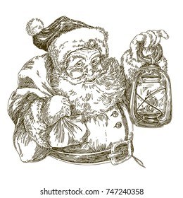 Santa Claus holding a lantern. Isolated on white. Engraving style. Vector illustration