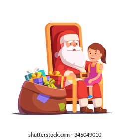 Santa Claus holding little smiling girl on his lap making a wish. Flat style vector illustration isolated on white background.