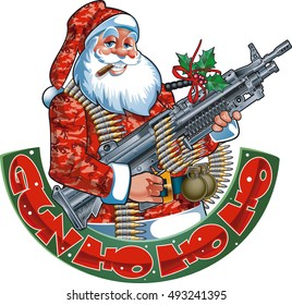 santa claus holding machine gun and banner with text