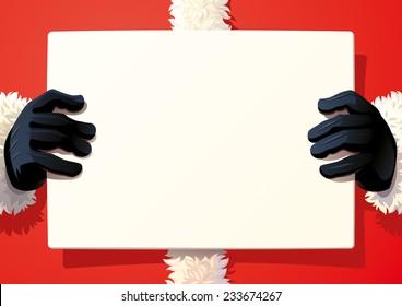 Santa Claus holding a sing