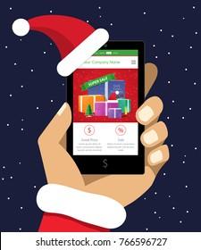 Santa Claus Holding Smartphone in Christmas Hat. New Year Present Gadget. Man Buying Presents Online, Modern Customer Shops on Internet Vector Art Design Illustration.