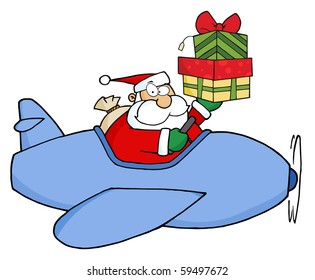 Santa Claus Holding Up A Stack His Christmas Plane