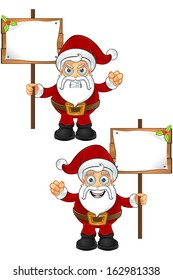 Santa Claus - Holding Wooden Sign