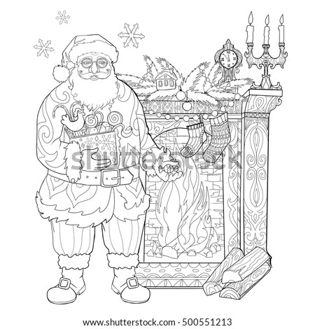 santa claus in the house by the fireplace with gifts coloring book page for adults