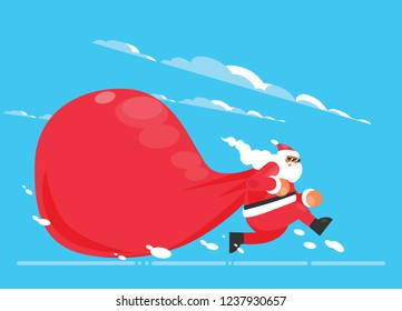 Santa Claus with a huge bag, on the run to, delivery christmas gifts on winter background