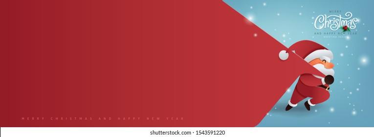 Weihnachtsmann mit einer riesigen Tasche auf dem Weg zu liefern Weihnachtsgeschenke bei Schnee fallen.Fröhlicher Weihnachtstext Calligrafische Lettering Vektorgrafik.