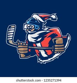 Santa Claus ice hockey mascot player logo.Happy new year 2019.