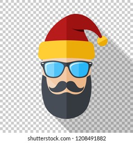 Santa Claus icon with a cool beard, mustache and glasses in flat style on transparent background