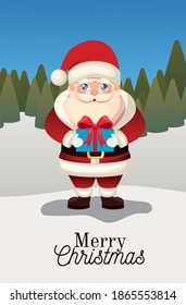 santa claus icon with merry christmas lettering and gift box on a forest background vector illustration design