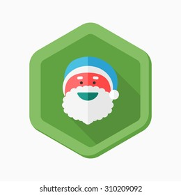 Santa Claus icon, vector illustration. Flat design style with long shadow,eps10