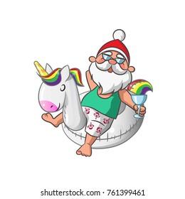 Santa Claus with Inflatable Unicorn Swim Ring on White Background