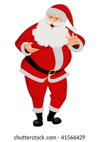 Santa Claus isolated on white. No Gradient Meshes, no Radial and no Linear gradients used.