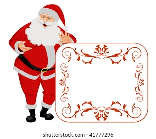 Santa Claus isolated on white with blank sign. No Gradient Meshes, no Radial and no Linear gradients used.