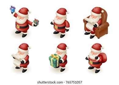 Santa Claus Isometric 3d Read Gift List Sit Armchair Character Sit Armchair Giftbag Icon Fireplace Holiday Background Cartoon Greeting Card Template Poster Vector illustration