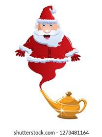 santa claus jinn from magic lamp vector