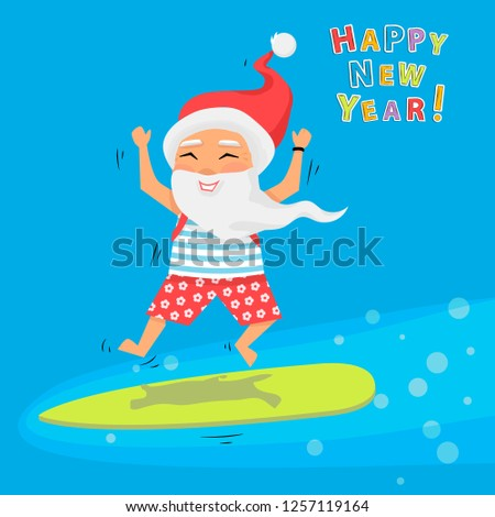 Santa Claus jumping on surfboard with gifts in backpack cartoon character Santa Claus emotion.Merry