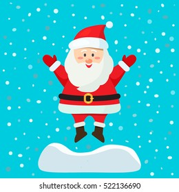 Santa Claus jumping out of a snowdrift. greeting card. flat vector illustration isolate on a blue background