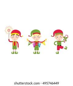 Santa Claus kid cartoon elf helper vector illustration