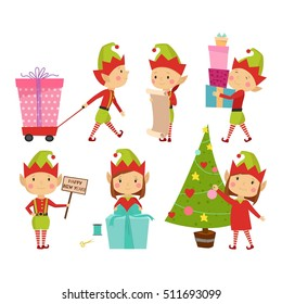 Santa Claus kids cartoon elf helpers working with xmass gift and Christmas tree vector illustration isolated on white. Elfish boys and girls