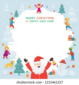 Santa Claus with Kids or Children Playing Snow, Frame, Christmas, Winter and New Year Celebration