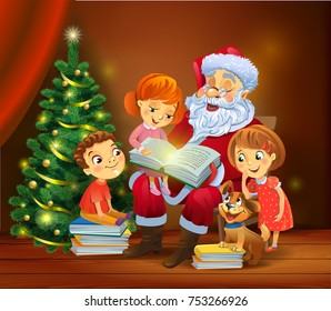 Santa Claus with kids reading the book beside a Christmas tree, a vector illustration in traditional style