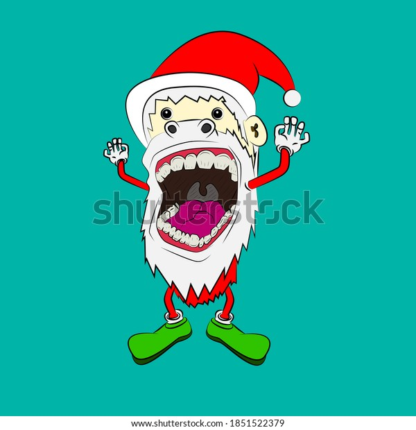 santa claus laughing out loud, streetwear or t-shirt design