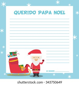 Santa Claus Letter Template Vector Illustration Stock Vector