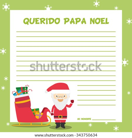 santa claus letter template vector illustration for christmas time in spanish with child character