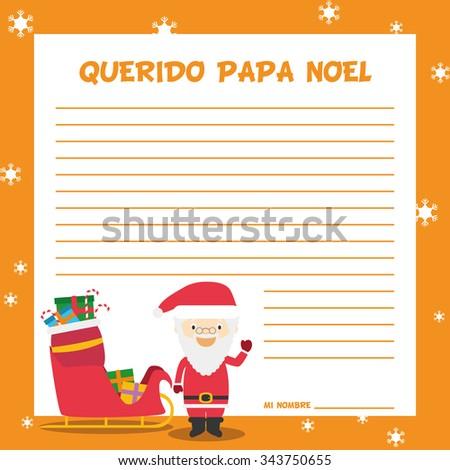 Santa Claus Letter Template Vector Illustration Stock Vector