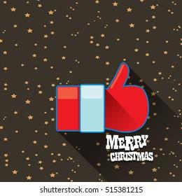 Santa Claus like icon vector illustration. thumbs up santa symbol. merry christmas greeting card or background