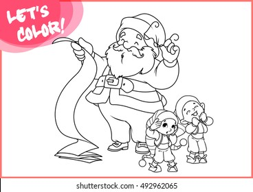 Santa Claus with long scroll and two little helpers. Page for coloring book. Vector illustration isolated on a white background.