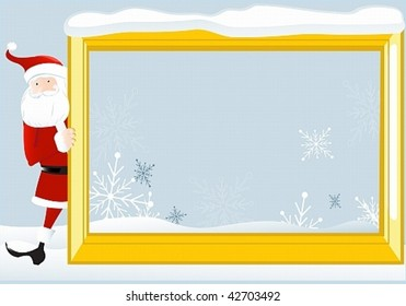 Santa Claus looks out the large frame. May well arrange your text