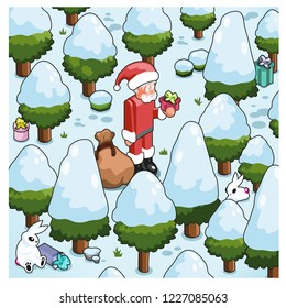 Santa Claus lost in a snow-covered forest (isometric cartoon)